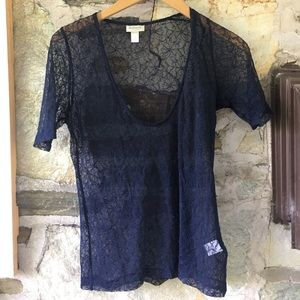 Rodarte x Target blue lace short sleeve sheer top